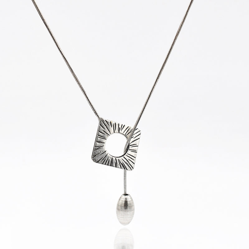 silver rhombus necklace