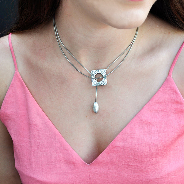 silver rhombus long chain necklace