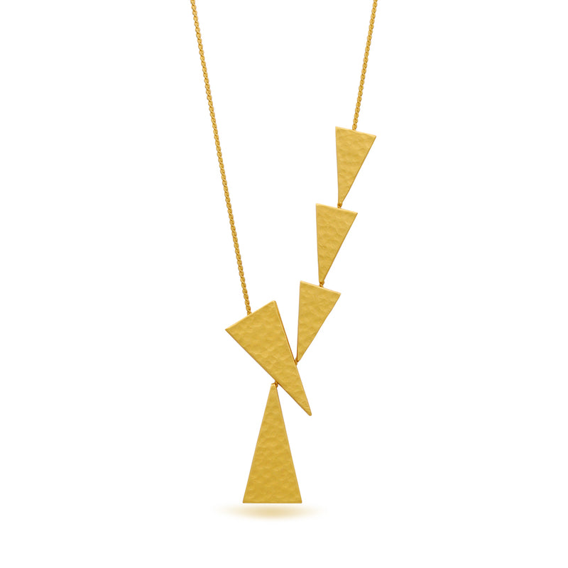 triangle y shape gold necklace