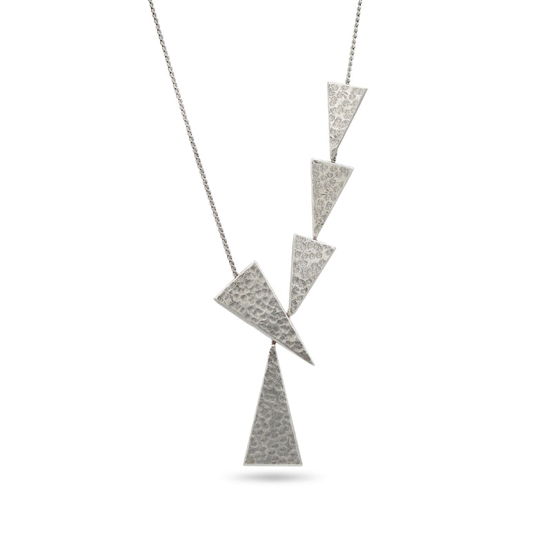 Silver triangle abstract necklace