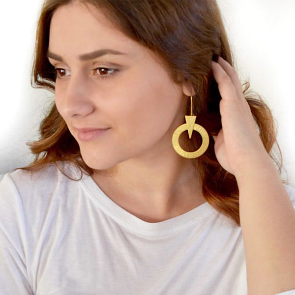 geometrical gol dangle earrings