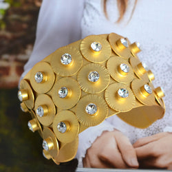Gold plated wide cuff bracelet with Swarovski crystals