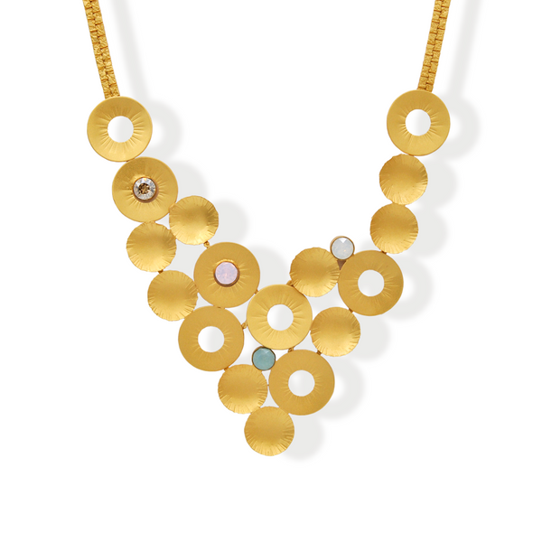 Gold collar necklace with multicolor crystals