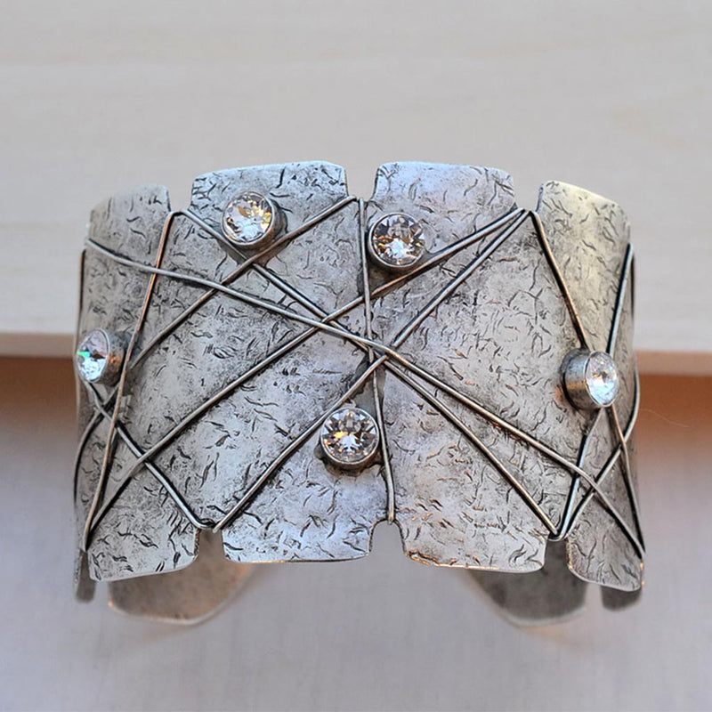Silver statement cuff bracelet with  Swarovski crystals