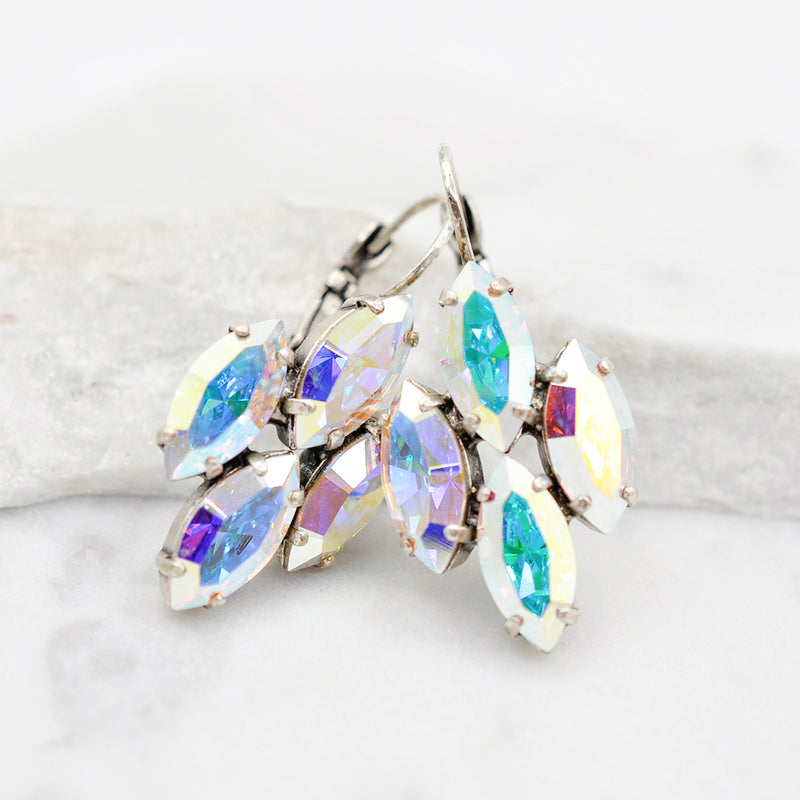 Silver marquise crystal earrings with aurora Swarovski crystals