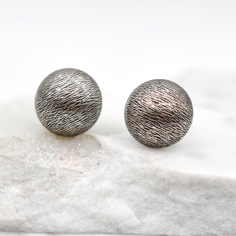 silver button style stud earrings