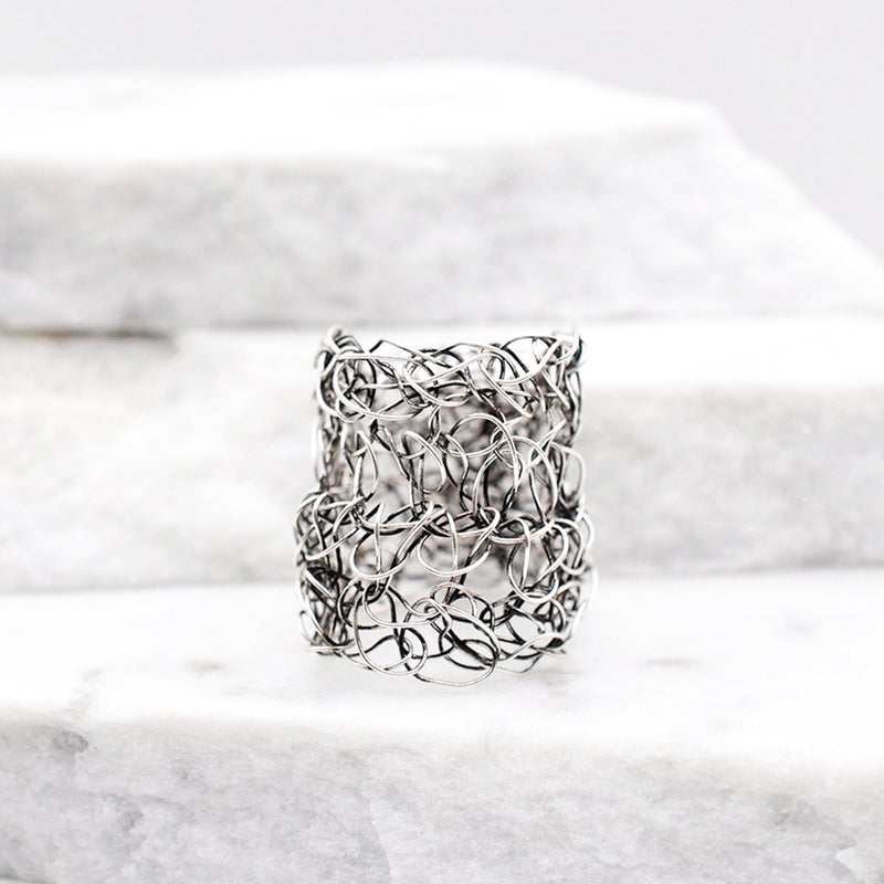 silver crochet wire ring