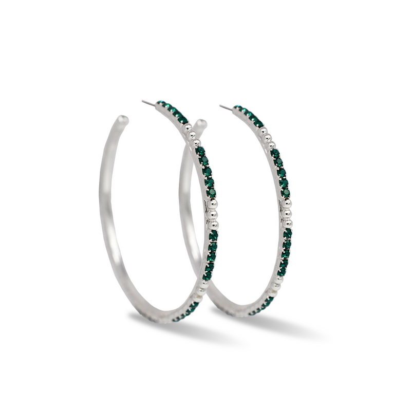 large silver crystal hoop earrings with emerald