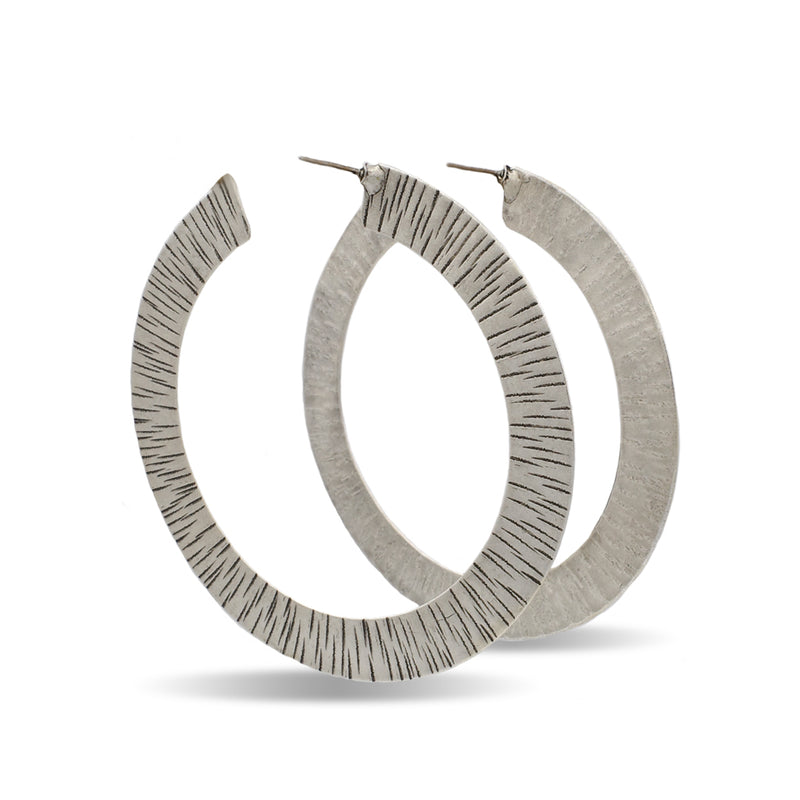 hammered  silver big hoop earrings
