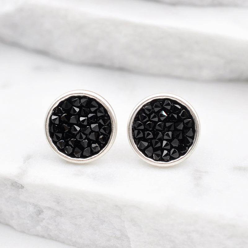 Silver round stud earrings with black Swarovski crystals