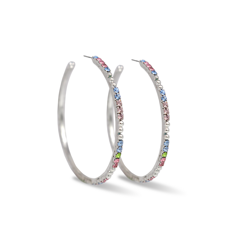 large silver hoop earrings with multicolor crystals