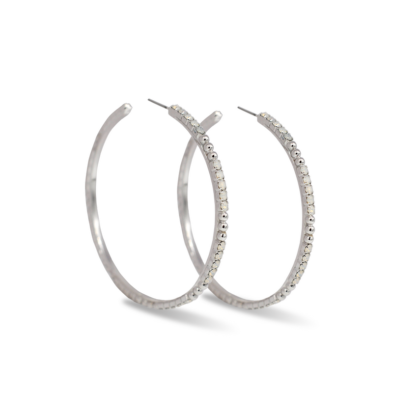 large silver crystal hoop earrings with white opal