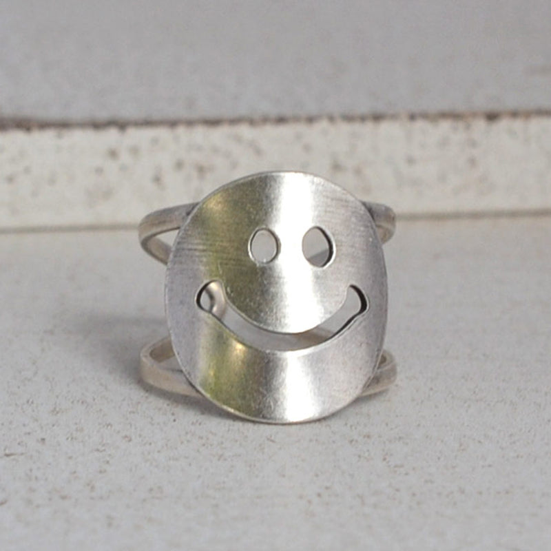 Silver Smiley Face Ring