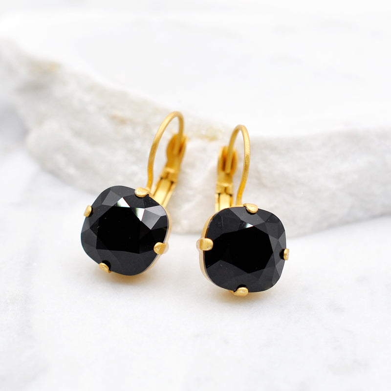 gold petite square black Swarovski earrings