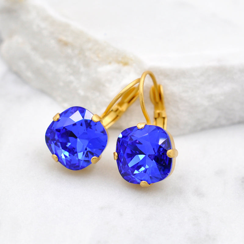 gold crystal earrings with sapphire Swarovski crystal