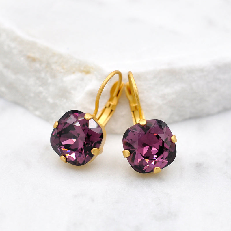 gold petite square amethyst Swarovski earrings