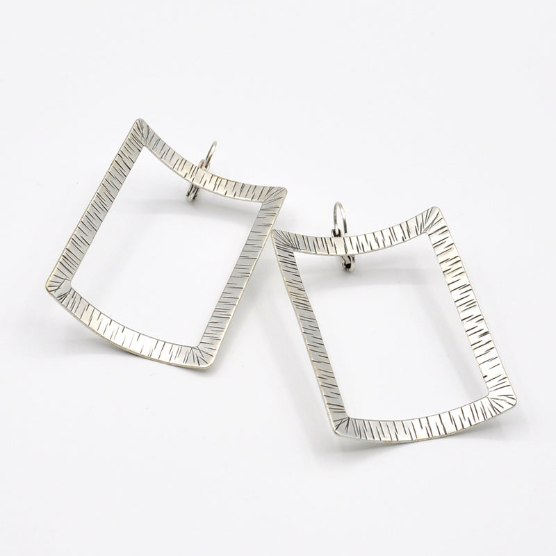 silver big rectangle earrings