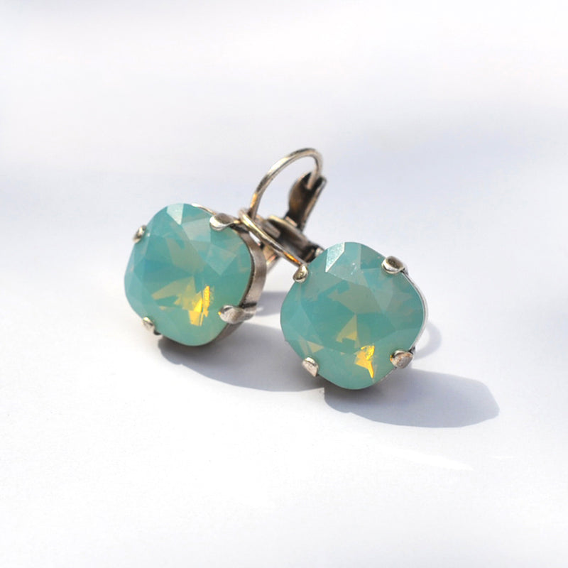 Silver plated square crystal earrings with pacific opal Swarovski crystal