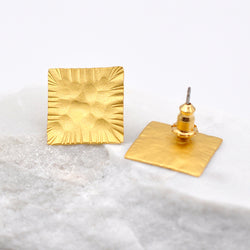 hammered gold square stud earrings
