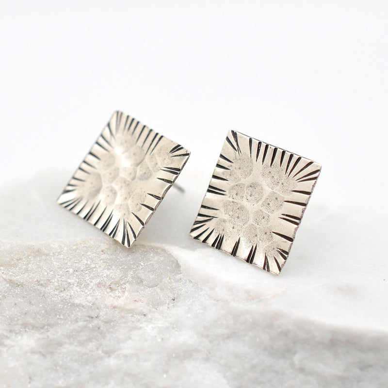 hammered silver square stud earrings