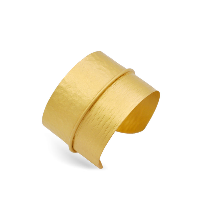 Hammered gold cuff bracelet for women