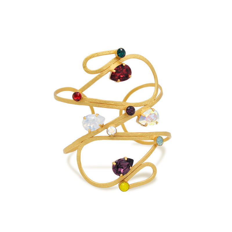 Wide gold  drop shape cuff bracelet with multicolor crystals