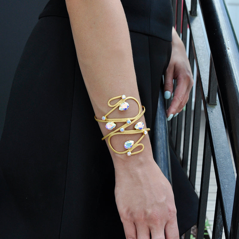 Wide gold drop shape cuff bracelet with Aurora Swarovski crystals