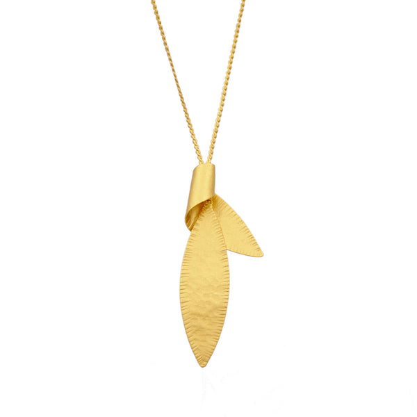 Hammered gold leaf necklace