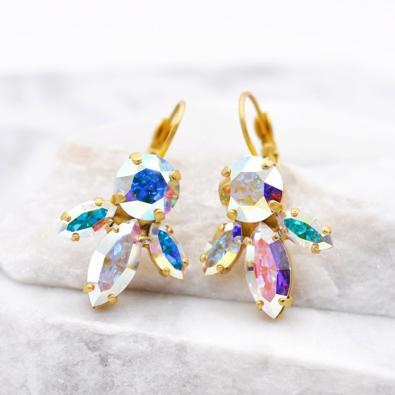 dangle gold earrings with aurora Swarovski crystals