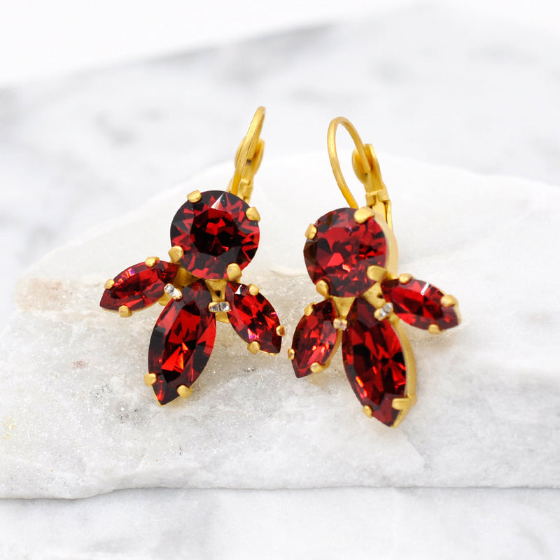 dangle gold earrings with red Swarovski crystals