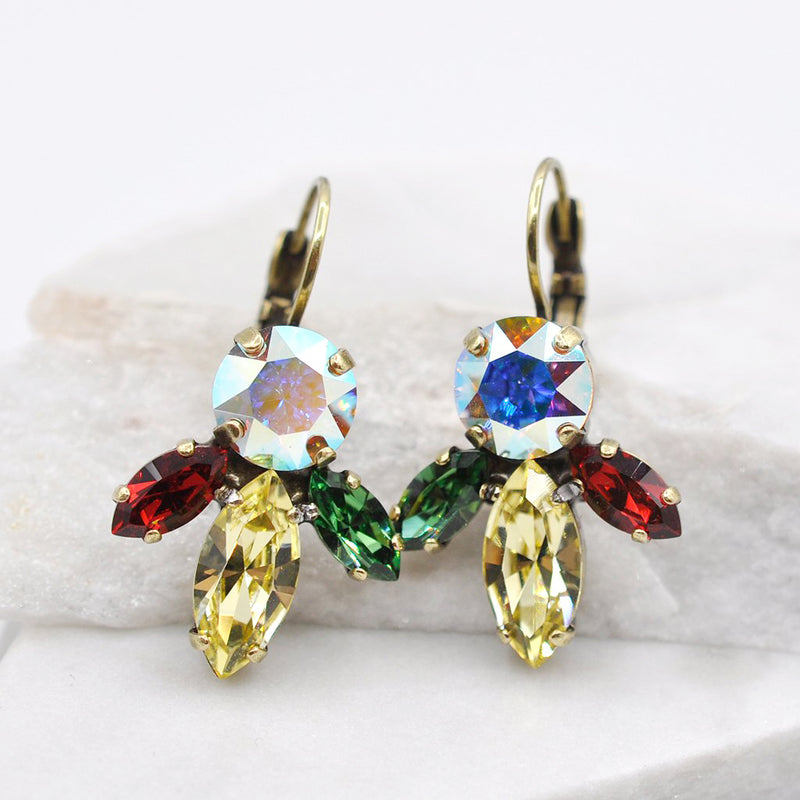 Venus earrings with multi color Swarovski crystals