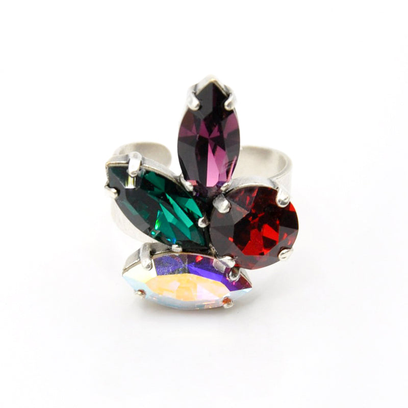 Silver cocktail ring with multicolor Swarovski crystals