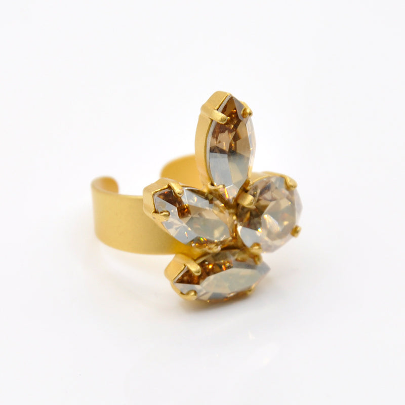 Gold plated cocktail ring with Swarovski crytsals
