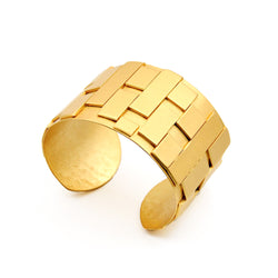 recycled material gold cuff bracelet