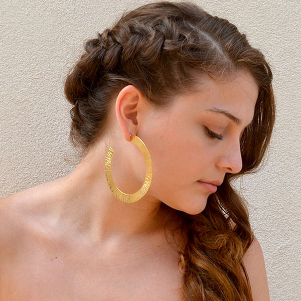 Gold hammered large hoop earrings