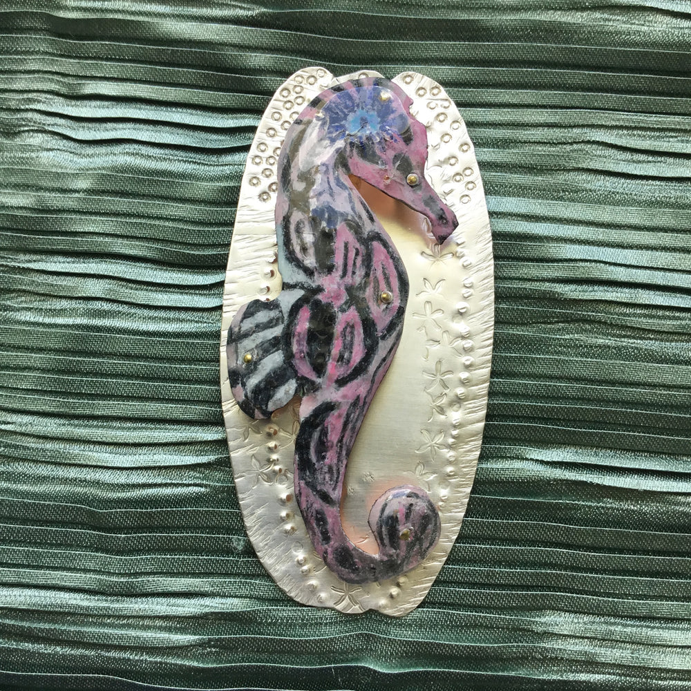 BLACK, WHITE & PINK ALL OVER: SEAHORSE-Sterling Silver Prismacolor Pendant (Handmade)
