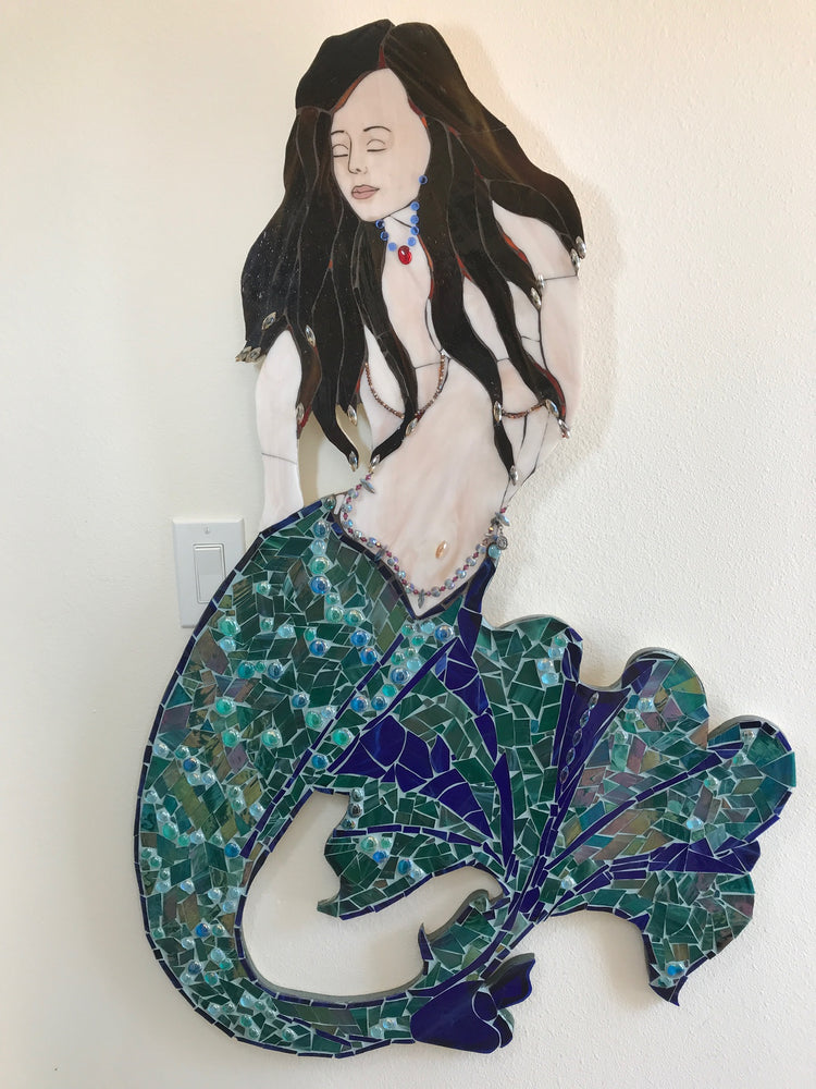 Leanne, Iridescent Mermaid with Fan Tail, 3 Feet Tall, 3D Stained Glass