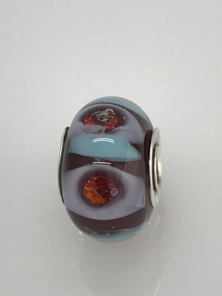Load image into Gallery viewer, Ruby Blues n' CZs Glass Bead Charm
