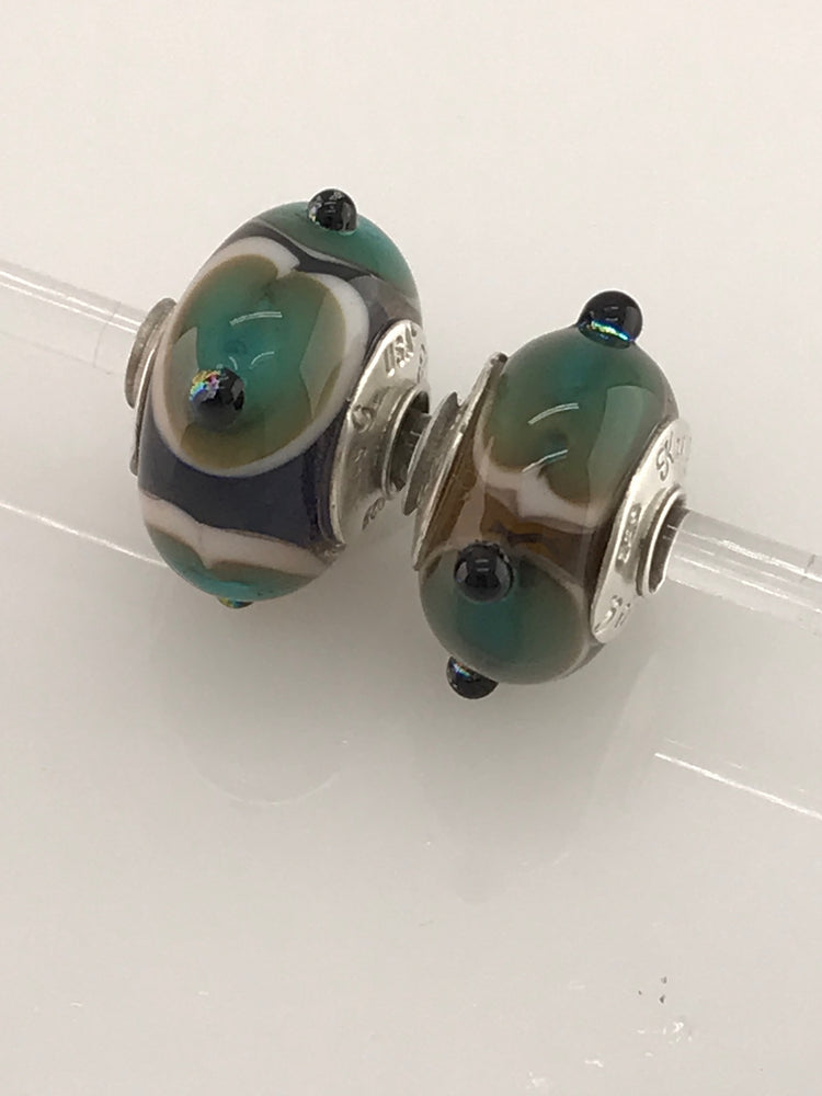 Blue-Green Beige with Dichroic Surface Dots: Glass Bead Charms