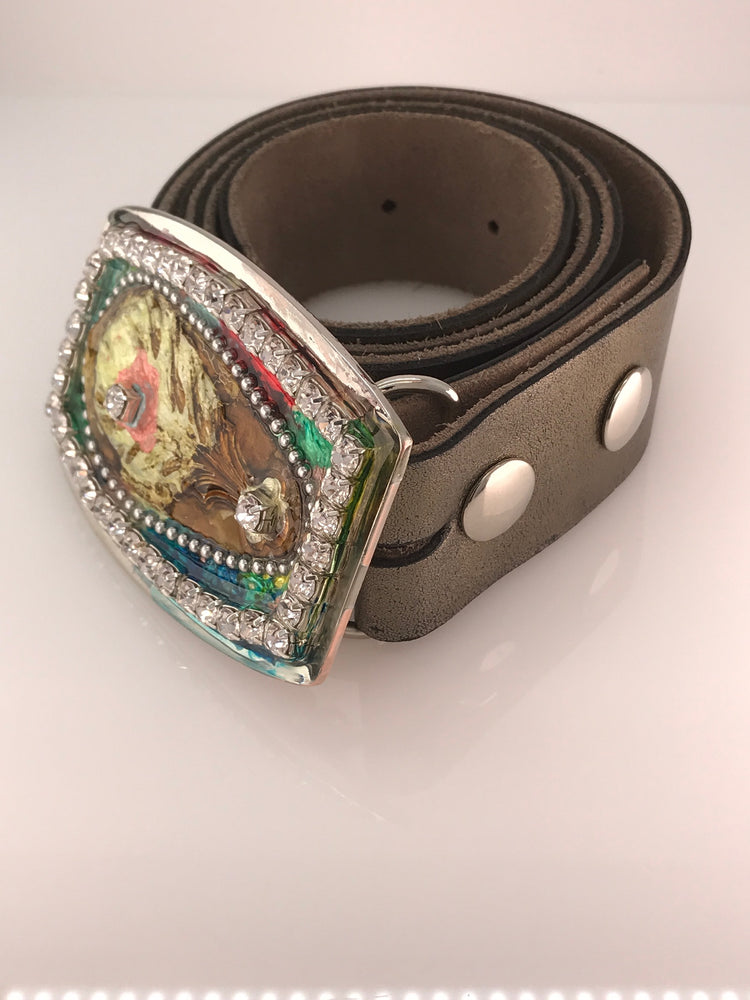 Rhinestone, Resin, Peacock Belt  Buckle