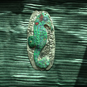 Load image into Gallery viewer, LAVENDER SPOTTED BLUE-GREEN: SEAHORSE-Sterling Silver Prismacolor Pendant (Handmade)