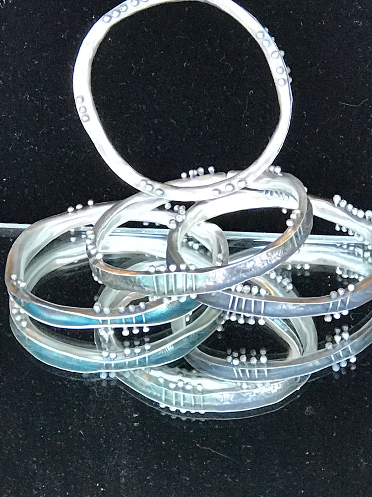 Sterling Silver Wave Bangle Bracelets