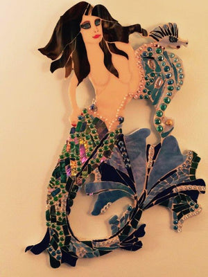 Leanne & Seavin, Iridescent Mermaid with Fan-tail & Seahorse-3D Stained Glass