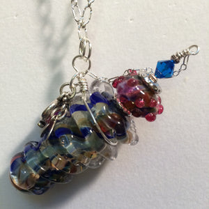 Perfume/Essential Oil Glass Vessel, Artisan Hand-wound Pendant with Sterling Silver Chain