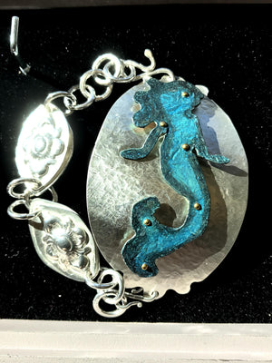 "Mermaid Bracelet, Sterling Silver Bangle with handmade ""coin chain"""