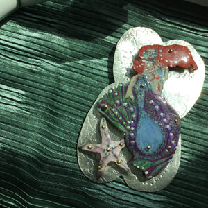 Chili - Sterling Silver and Prismacolor Mermaid Pendant