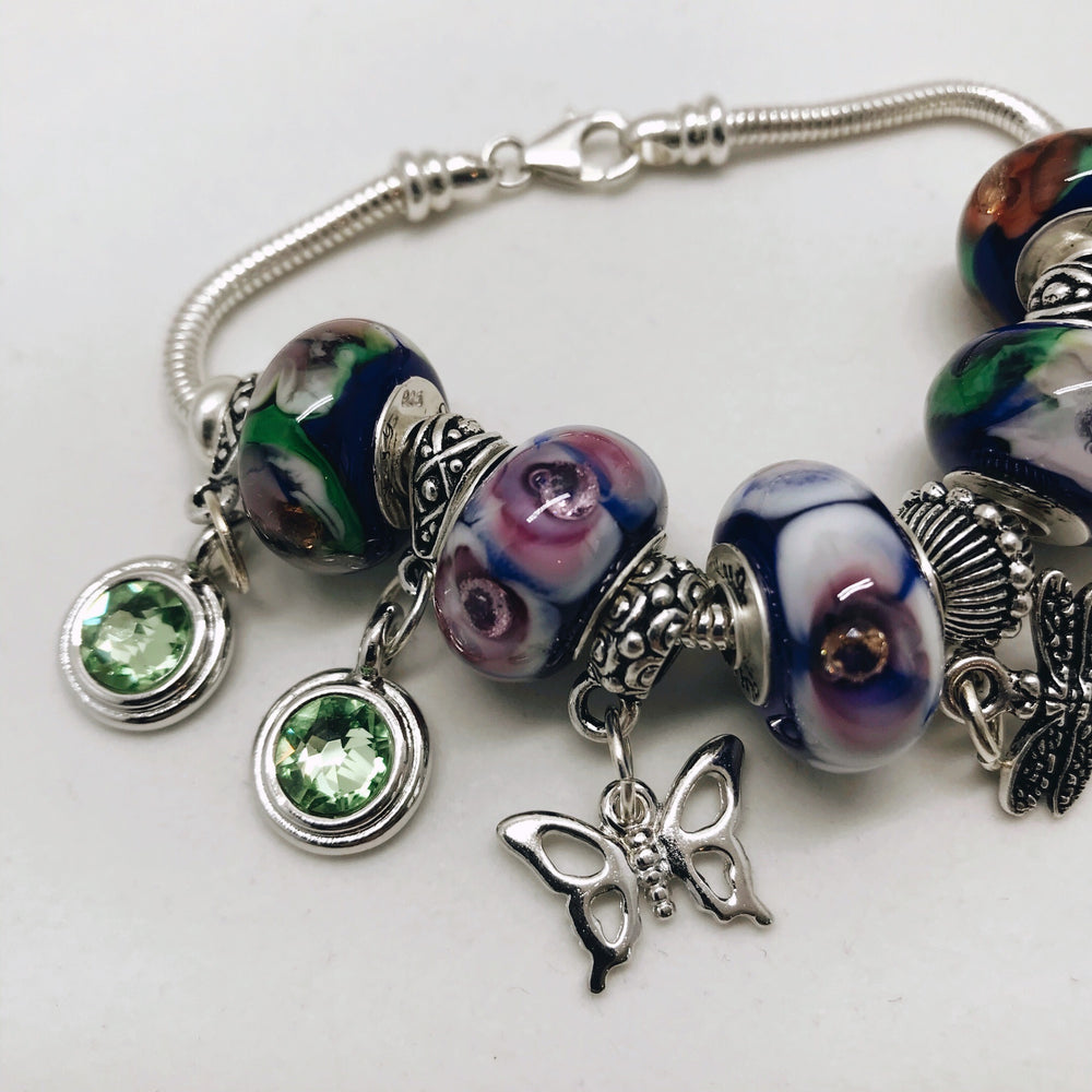 Flowers 'n CZs Glass Charm Bead Bracelet