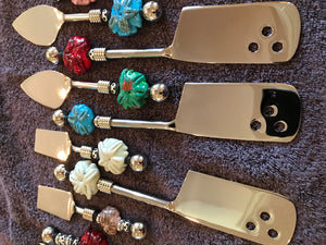 Lampwork & Stainless Steel Cheese Knives-Sand Dollar / Swirls Lampwork Beads