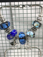 Starry Nights Glass Bead Charm Sterling Silver Bracelet