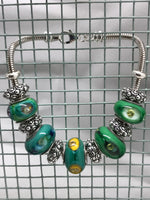 Regal Green Peacock Glass Charm Bead Bracelet
